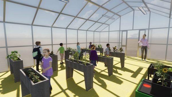 Invernadero educativo de cultivos