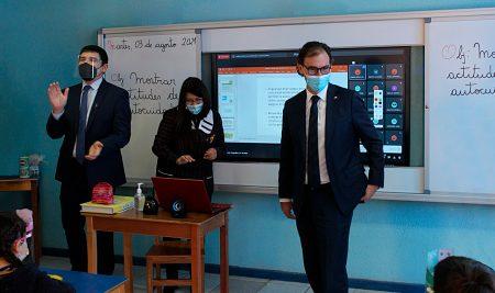 La visita del ministro de educación al establecimiento La Concepción de la Florida